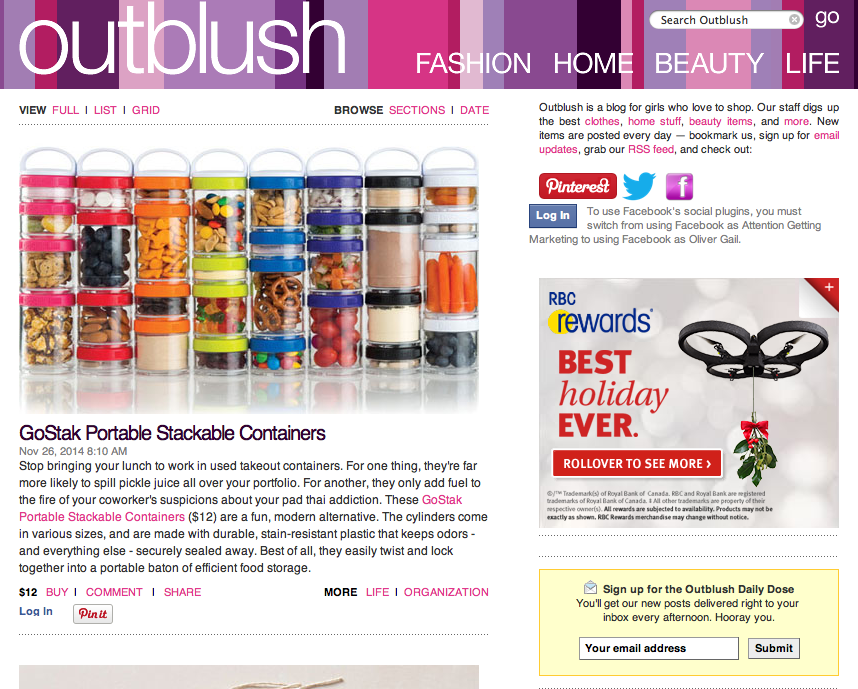 top shopping blogs outblush